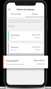 políticas de despesas de viagem disponíveis no app