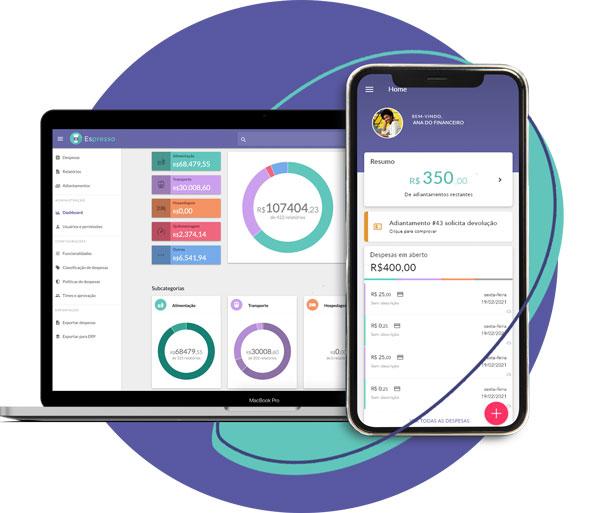 Imagem mostrando o controle de gastos nas plataforma web e mobile